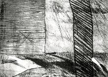 Wall 2   1989  dry point on copper, 35x25 cm